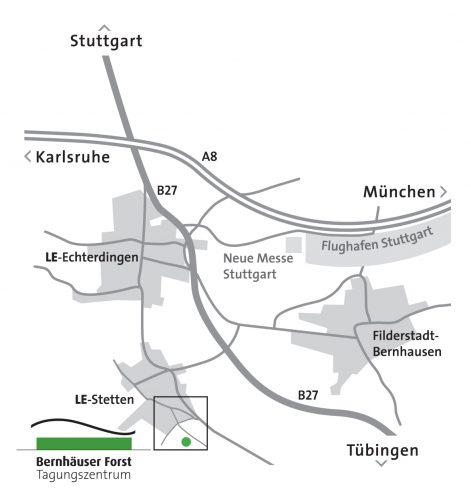 Anfahrtsskizze zum Bernhäuser Forst ohne SI Centrum